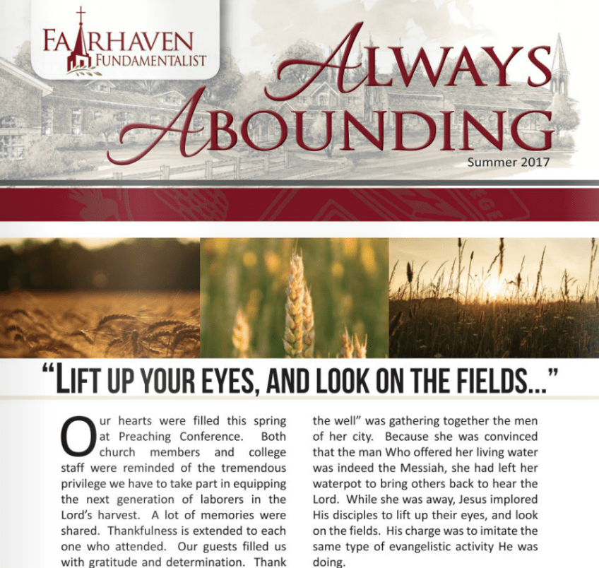 Always Abounding – The Fairhaven Fundamentalist – Summer 2017